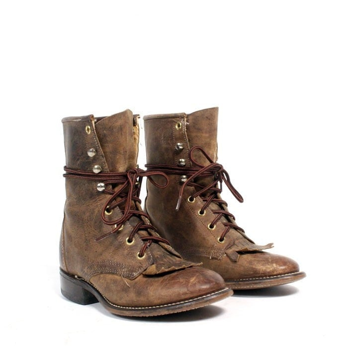 size 6 brown leather lace up boots 36 by santokivintage on