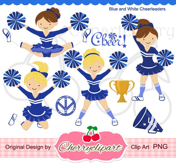 Blue white cheerleader digital clipart set for by for Cheerleading arts and crafts