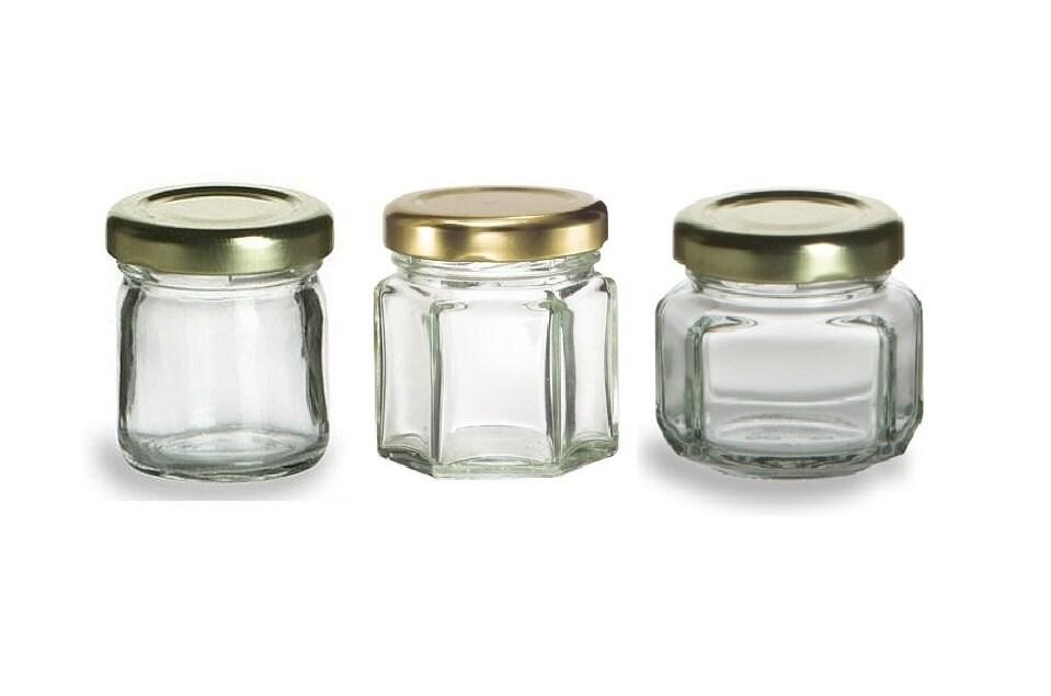 250 1 5 oz mini glass jars for diy wedding jam by. Black Bedroom Furniture Sets. Home Design Ideas