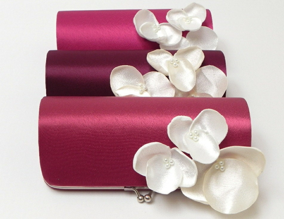 Eggplant Royal Purple Plum Bridesmaid Clutch or Bridal Clutch with Ivory