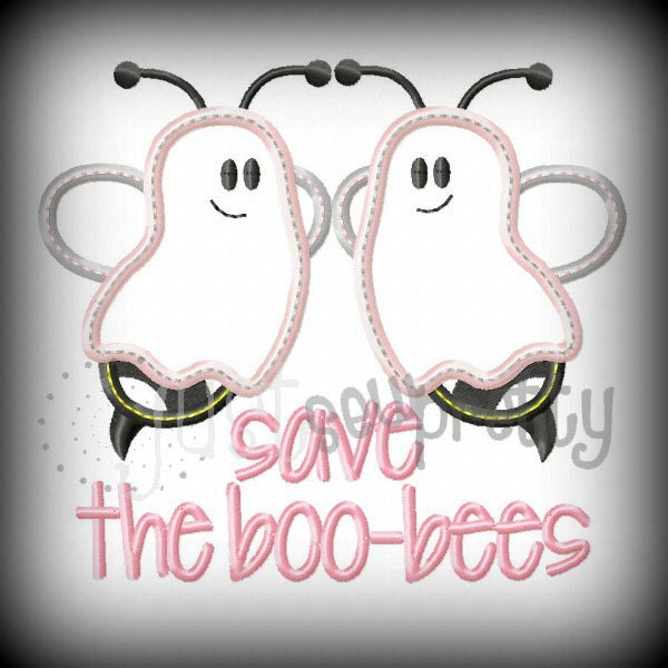Save the boo bees bc embroidery applique design by