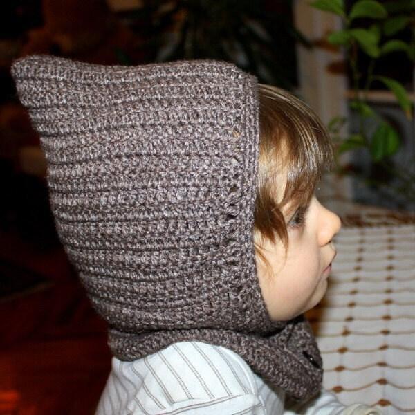 Crochet Hoodie Hat Free Pattern : Crochet PATTERN pdf file Hat hoodie by monpetitviolon on Etsy