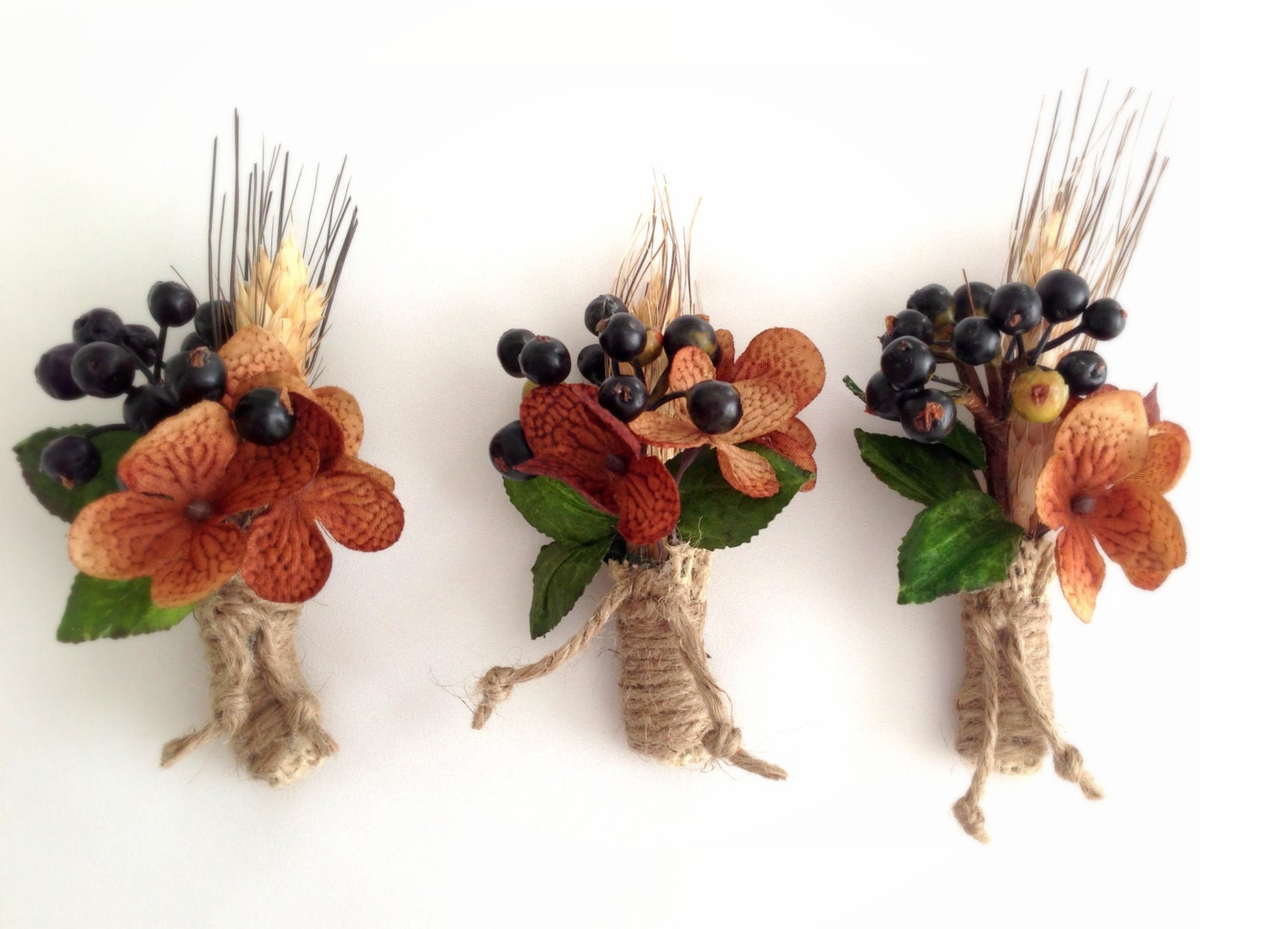 Groom's Boutonnière, Blueberries, Wheat, Hydrangea, Groom's Flower, Jute, Country Wedding,  Rustic, Fall, Winter (1) - LollysCubbyHole