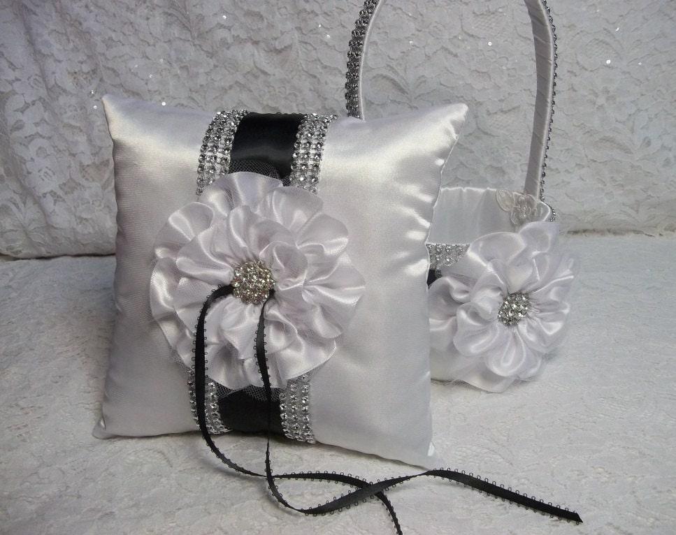 Flower Girl Baskets Black : Black white wedding flower girl basket by allaheartdesires