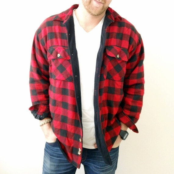 fleece lined buffalo plaid flannel shirt jacket red by