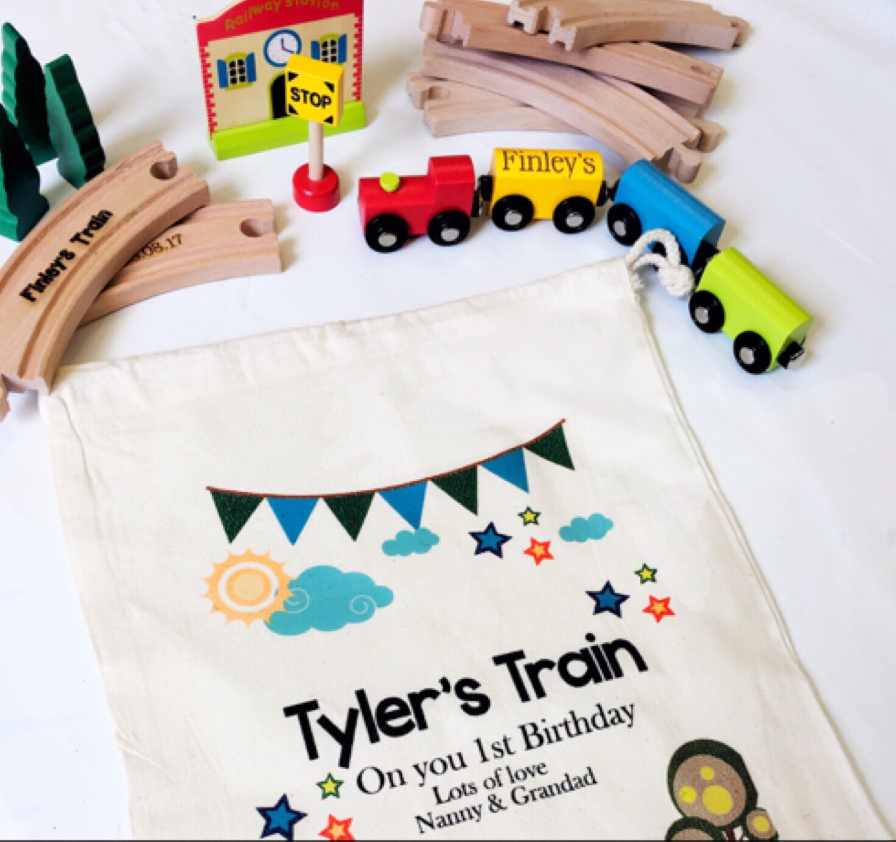 Wooden train, Toy train, personalised wooden train, First birthday gift , Christening gift, Baptism gift, Page boy gift,