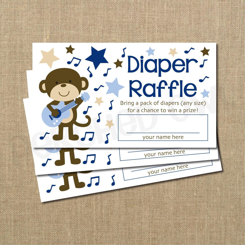 rockstar monkey baby shower diaper raffle ticket by perchedowl