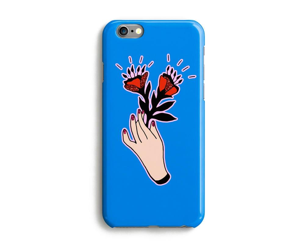 Flowers Hand Phone Case iPhone 7 6 6s Plus SE 5 5s 5c glitter floral plant phone case Samsung S8 S8 Plus Google Pixel Blue
