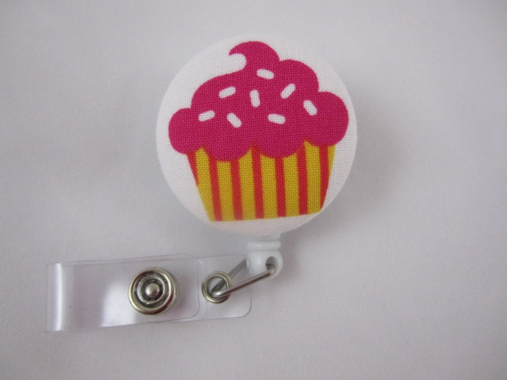 Retractable Badge Reel - Birthday Cupcake - Ready to Ship - Ladies Security Badge Holder - Swivel Alligator Clip