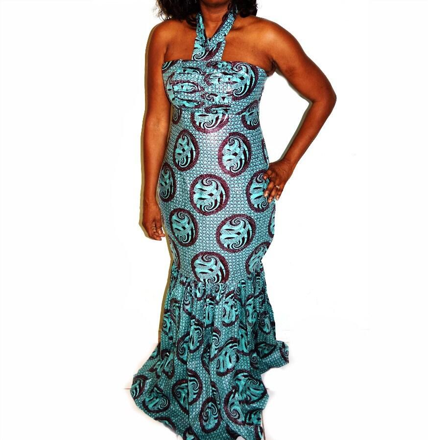 Blue Evening Dress-Holiday Party Formal Dress, African Ankara Print