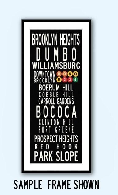 20x40 poster print brooklyn neighborhoods or city by