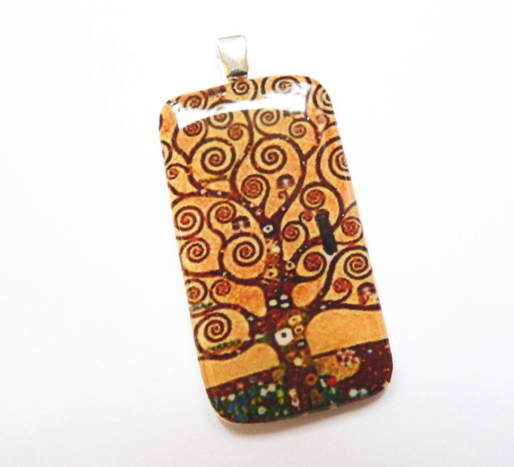 Klimt, Tree of life pendant, Polyshrink, Art Jewelry, Autumn Colours, Shrink Plastic - Mirma