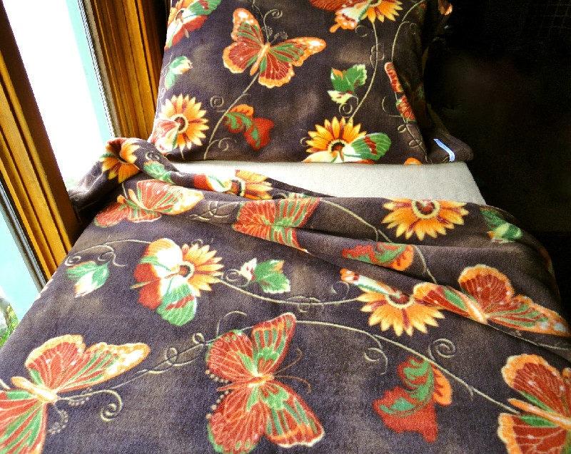 Girls Toddler Fleece Bedding Set  'Autumn Butterflies' Handmade Fleece Sheets Fits Crib and Toddler Beds