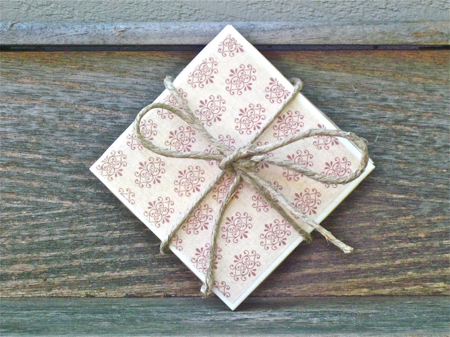 Tile Coaster Set Ceramic Tile Coaster Maroon and Cream Ornamental Print - CasstheCrafter