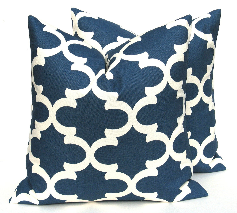 Dark Blue Decorative Pillows : Dark Blue Pillow 20 x 20 Throw Pillow by EastAndNest on Etsy