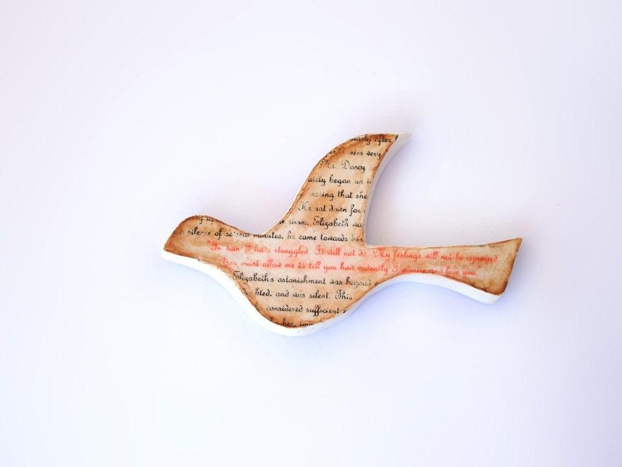 Romantic Dove bird - Jane Austen - Pride & Prejudice proposal - for book lover brown, shabby chic wall decor - FishesMakeWishesHome