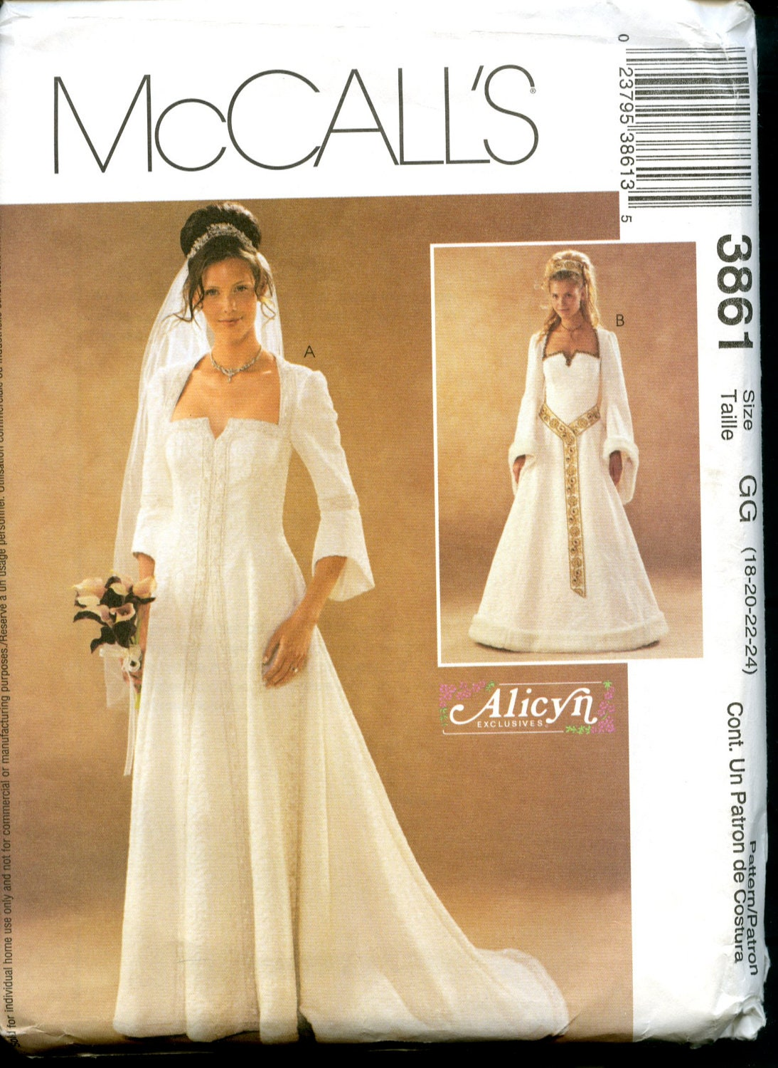 McCalls 3861 Fantasy Bridal Gown Pattern By GracinePatterns