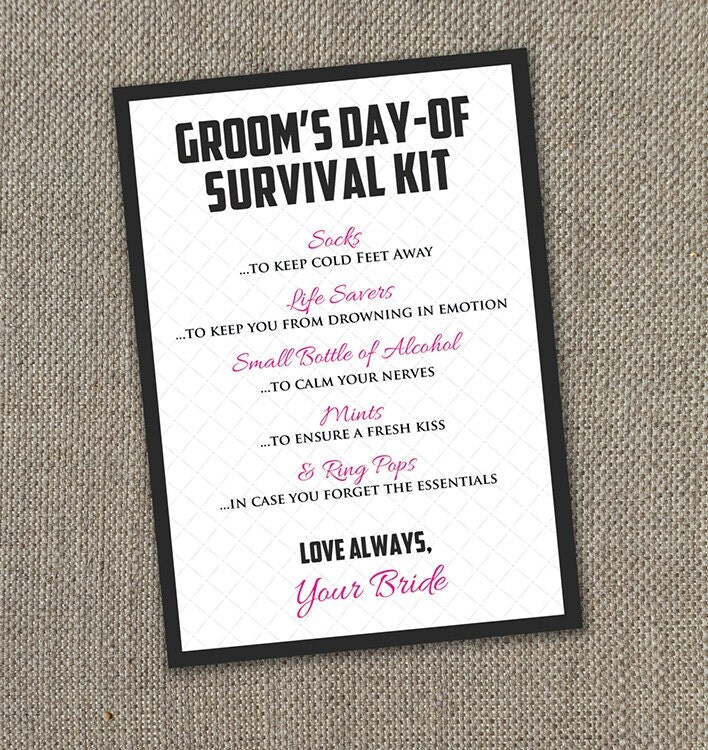 Groom Survival Kit Instant Download 5 By 7 By EventswithGrace