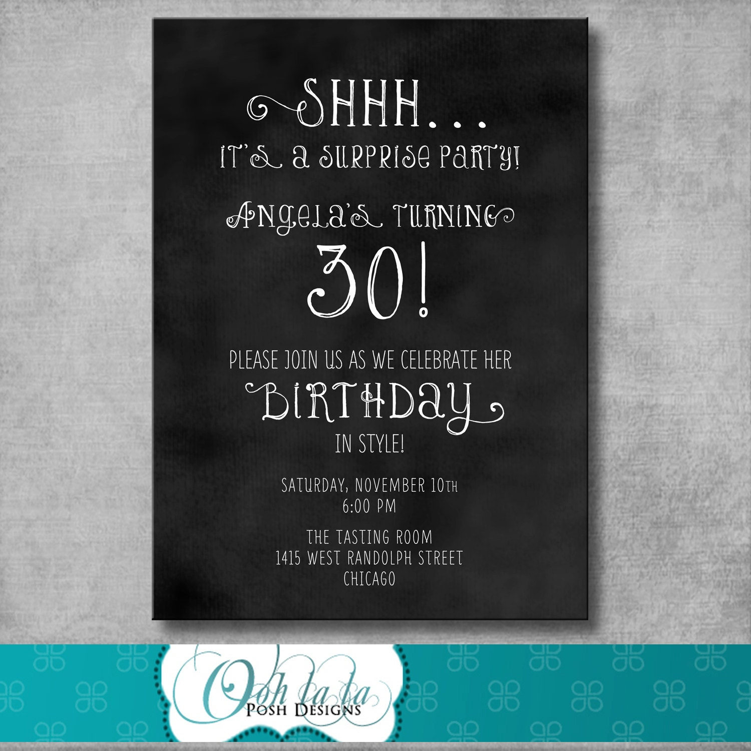 Printable Adult Surprise Birthday Party by OohlalaPoshDesigns