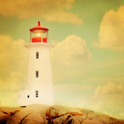 Nautical Photograph, Lighthouse Photo, red decor, dreamy photo, nautical art, boys room, nursery, summer, dreamy, Canada, Nova Scotia, fPOE