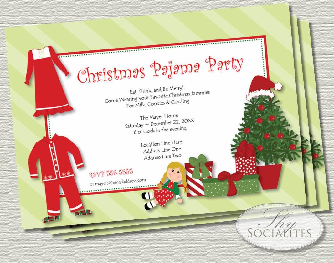 To christmas pajamas printable invitations jammies christmas