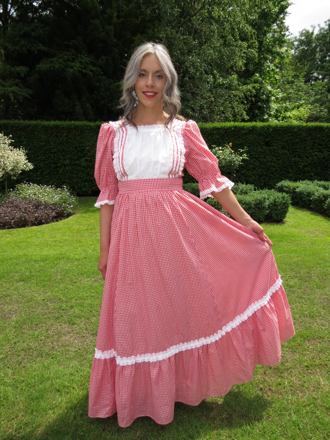 Vintage 1970s Maxi Dress Red Gingham Country Dancing Dress Medium Excellent Condition
