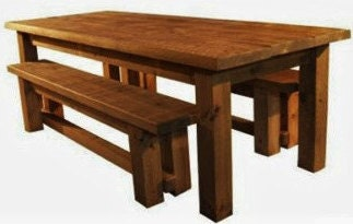 Rustic plank Furniture New New Real Solid Wood Chunky Indigo Plank pine Furniture Dining Table and Benches Set  Bespoke Made to any sizes