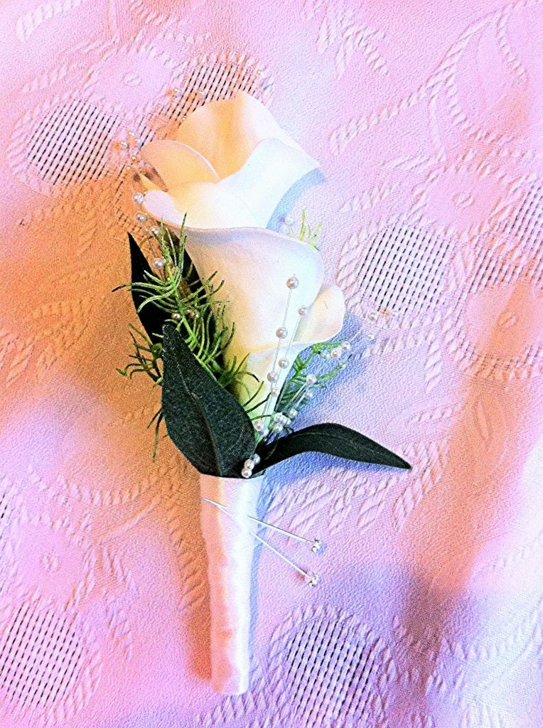 Artificial Calla Lily Corsage ButtonholeBoutonniere Double Ivory Calla Lily with Pearls Artificial  wedding flowers
