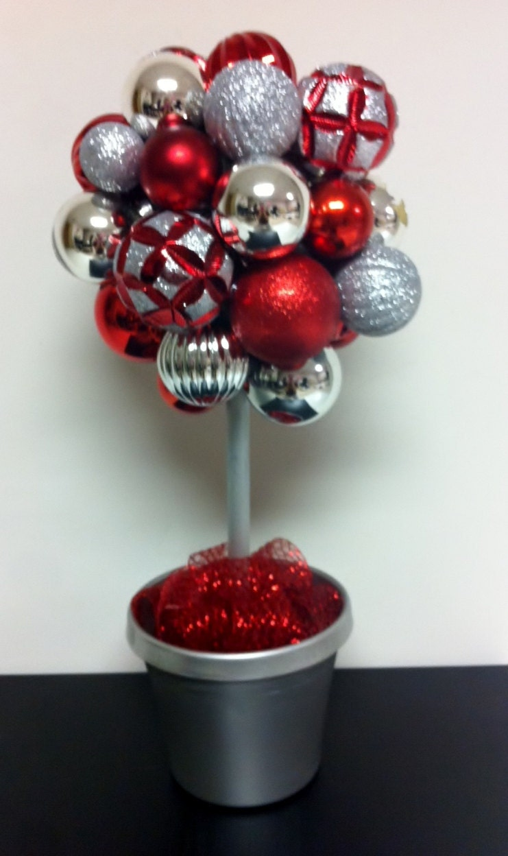 Red Silver Ornament Topiary Gorgeous Holiday By
