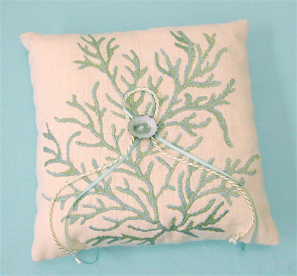 Items Similar To Wedding Ring Bearer Linen Pillow With Aqua Coral Pattern On Etsy