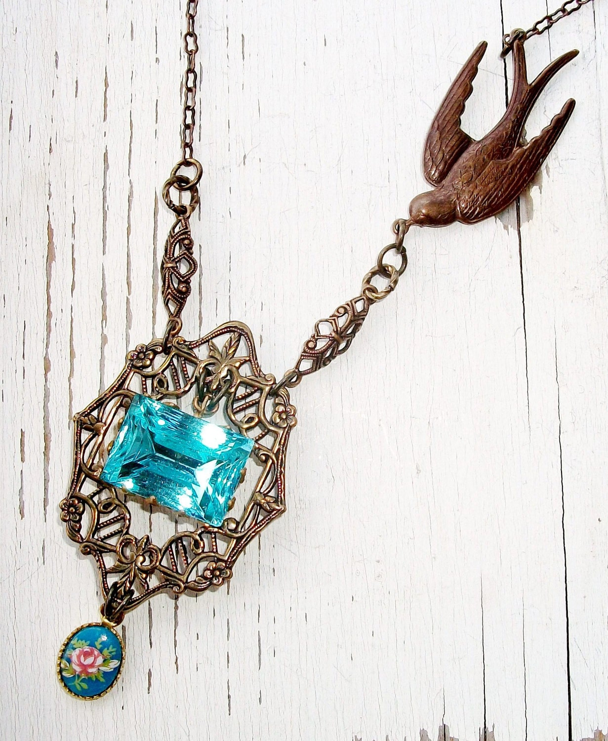 "Large VINTAGE Blue Glass Rhinestone NECKLACE with  Aged Brass - ""Fly Away Home"" - Vintage Components, One-of-a-Kind"