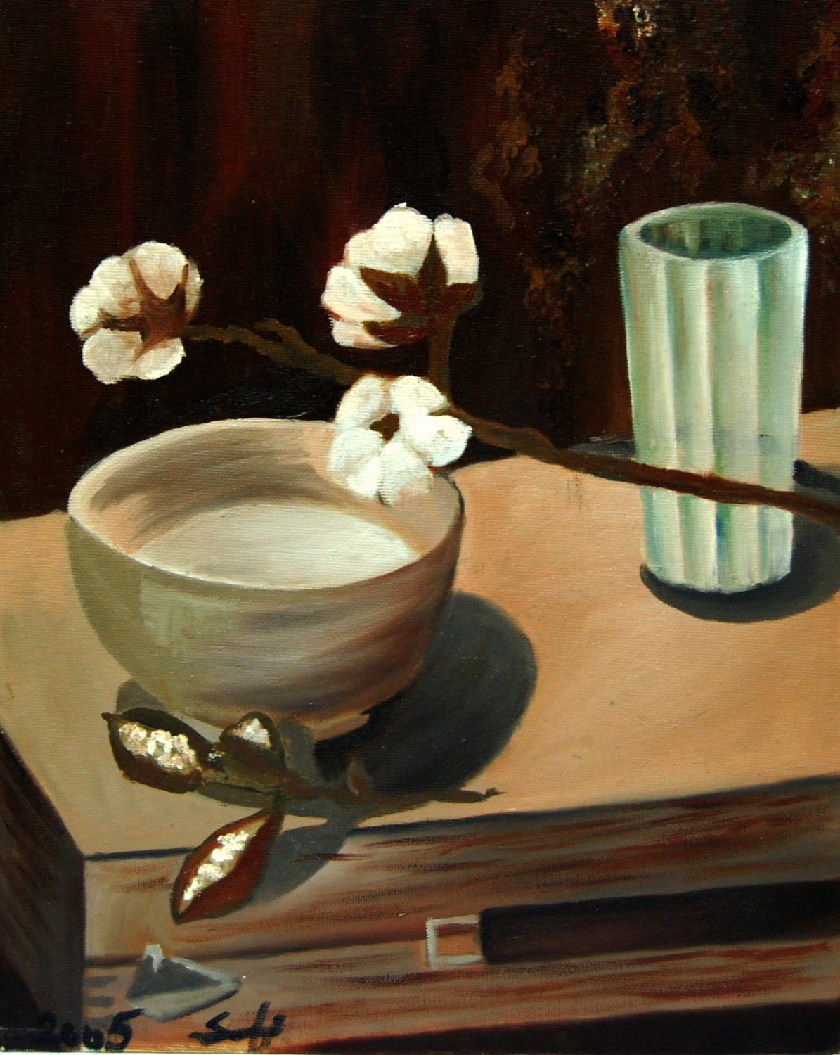 Still Life with Cotton Flowers, Original Oil Painting, Brown Beige, Oil Wall Art - CanotStop