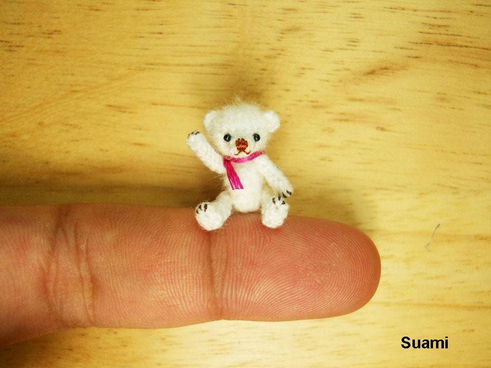 Teeny Tiny Teddy Bear - Micro Dollhouse Miniature Bears - 0.8 Inch Scale - Crochet Mohair White Bear - Pink  Scarf