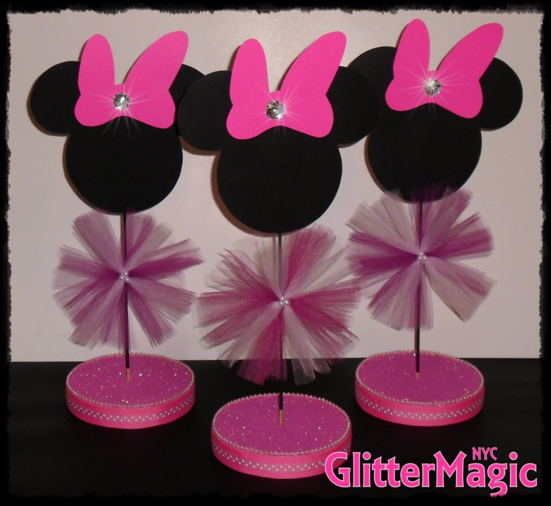 Centros de mesa baby shower niña Minnie - Imagui