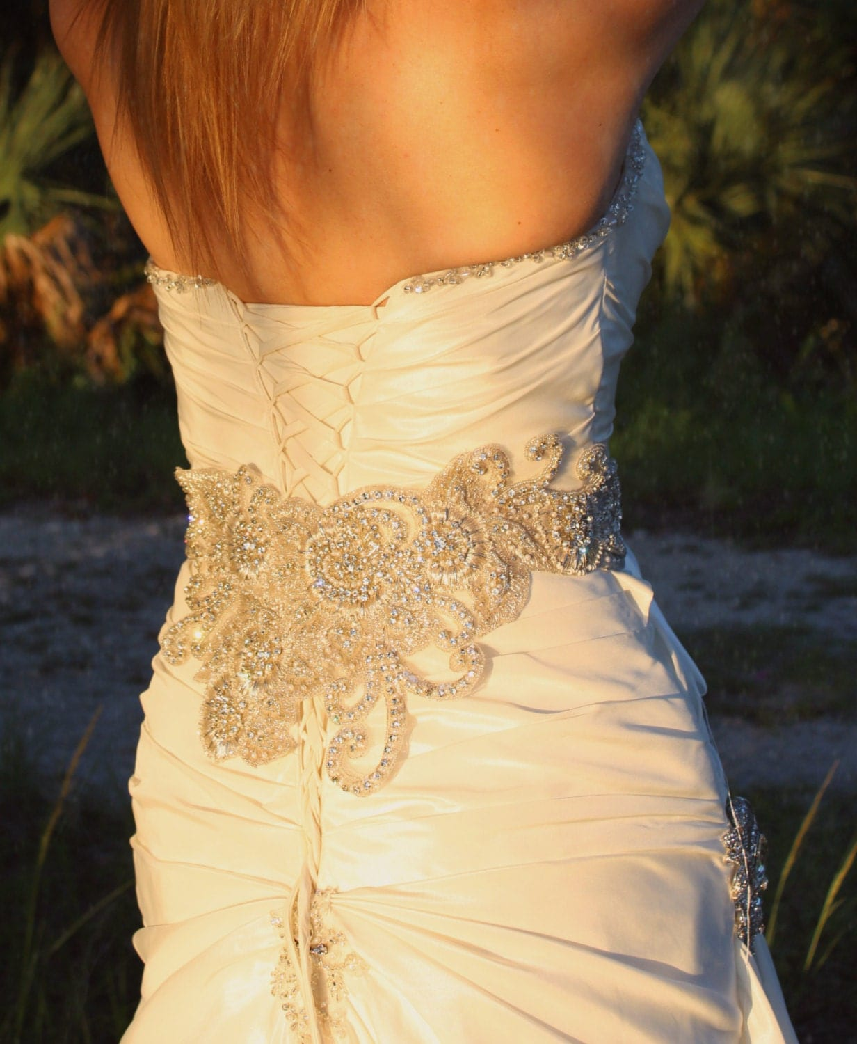 Couture embellished wide bridal beaded sash by edenluxebridal for How to make a beaded belt for a wedding dress