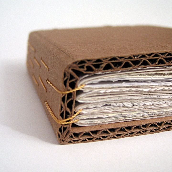 How To Make A Book Cover With Cardboard ~ Cardboard handbound book ephemera paper yellow binding by