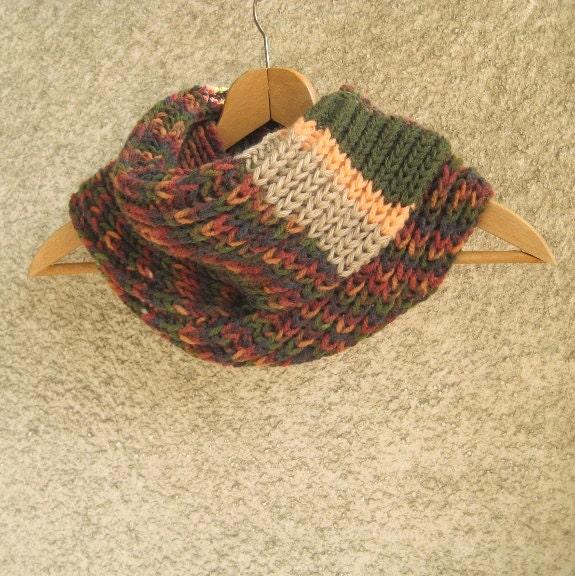 Striped Infinity Scarf Knitting Pattern : Infinity Scarf Knit Cowl Neckwarmer Women / Men Rib by dimana