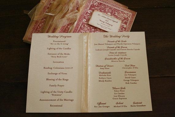 Wedding Program Book Vintage Ornate Bookcover By