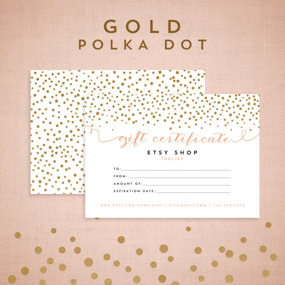 etsy shop policies template - printable gift certificate design cmyk gold by asamihasegawa