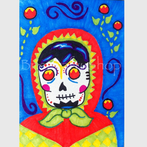 ACEO Sugar Skull Matryoshka Marker Drawing with Fiery Eyes
