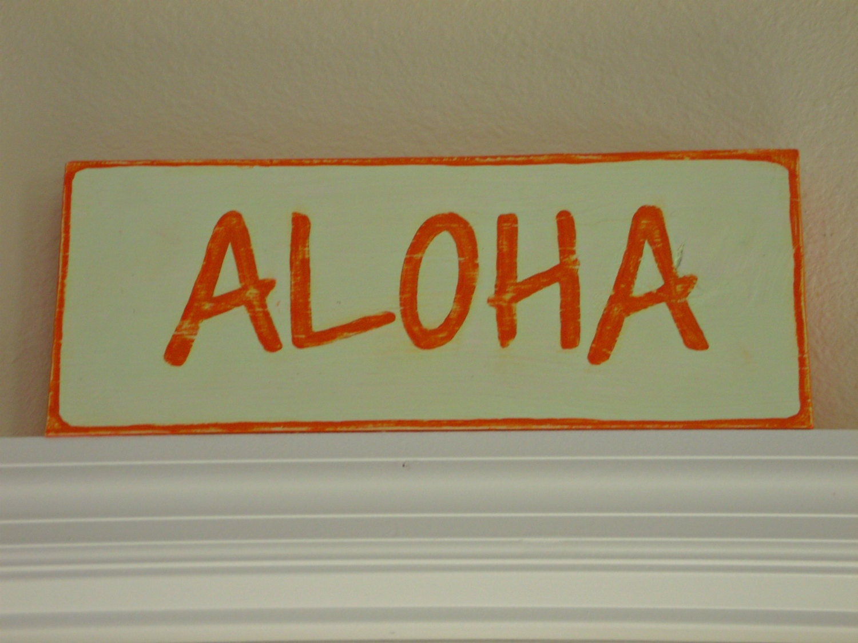 Aloha Hawaiian Painted Wood Beach Sign by StellabytheSea ...