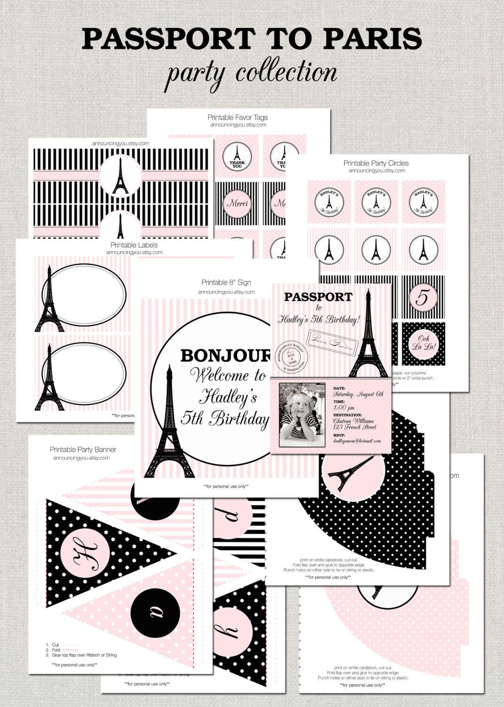 Printable Paris Birthday Party Collection DIY by announcingyou