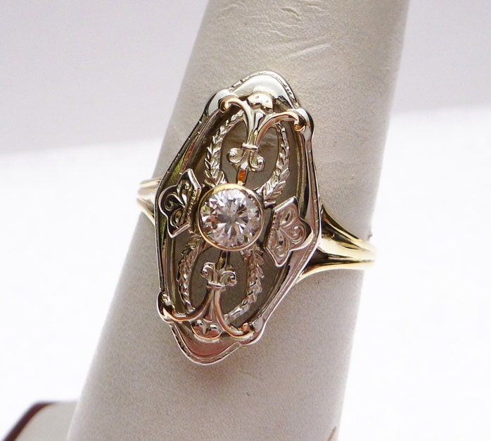 10k 20pt antique dinner ring by klinesjewelry on etsy