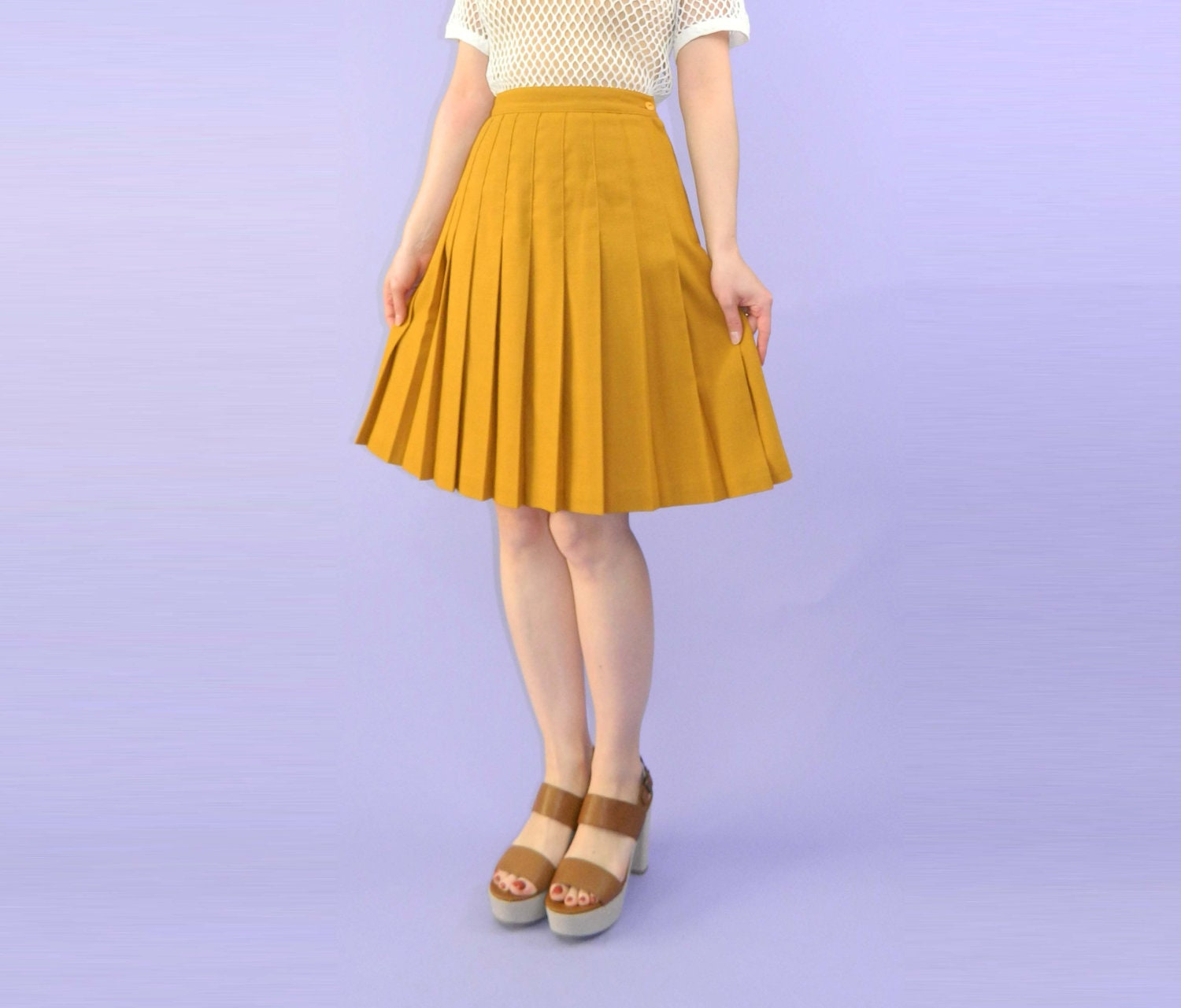 mustard yellow pleated skirt vintage s m by wearitwellvintage