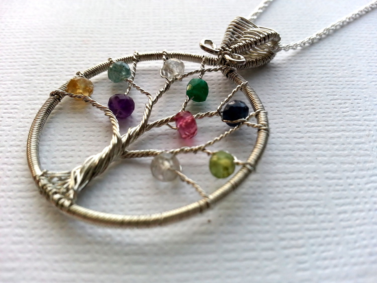 Personalized Jewelry Birthstone Necklace, Mother's Family Tree Necklace, Wire Wrapped Sterling Silver Birthstone Jewelry - SpiceofLifeDesigns