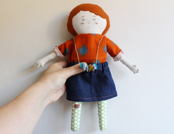 handmade fabric art doll with freckles and ginger hair - handmaderomance