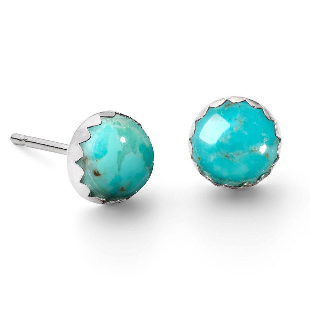 Handmade Sterling Silver Turquoise Gemstone Stud Earrings Birthstone Studs Simple Silver Earrings Turquoise Jewellery Tiny Earrings