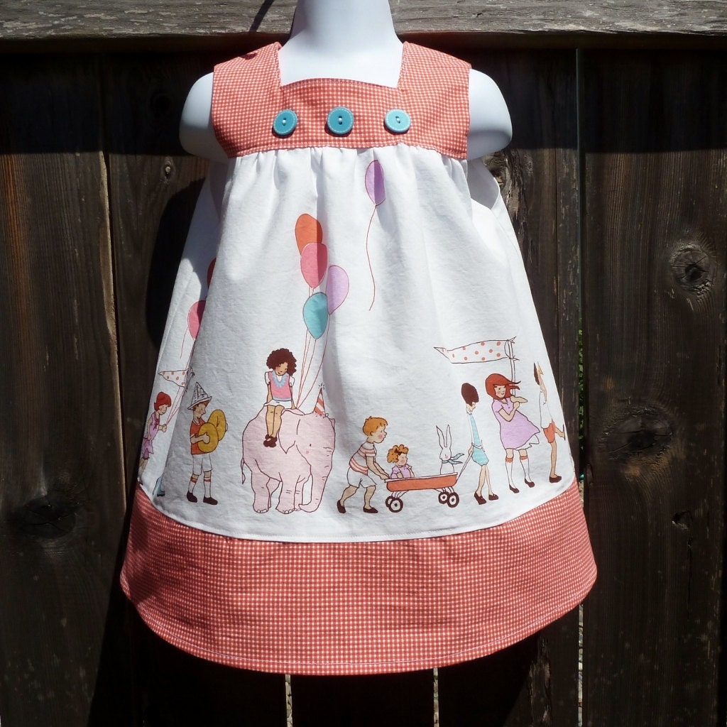 Girls Dress in Sizes 1 through 6 Featuring On Parade Fabric by Sarah Jane - msliesenfelder