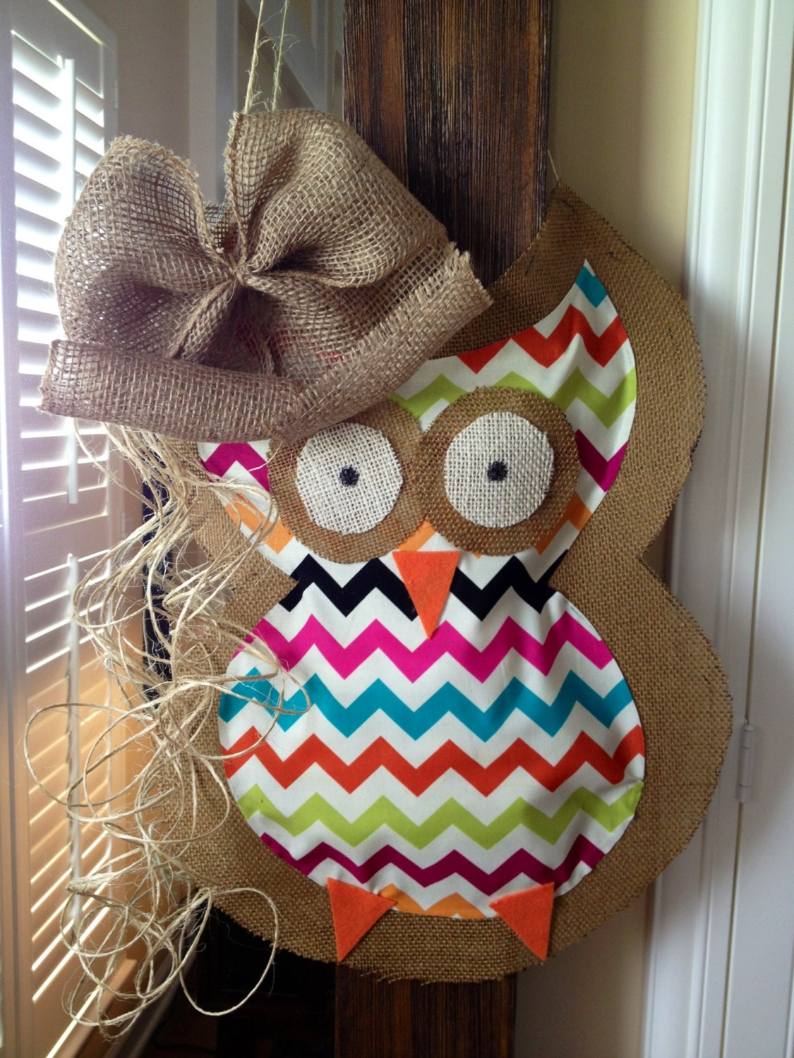 Items similar to owl door hanging decoration wreath for Baby owl decoration