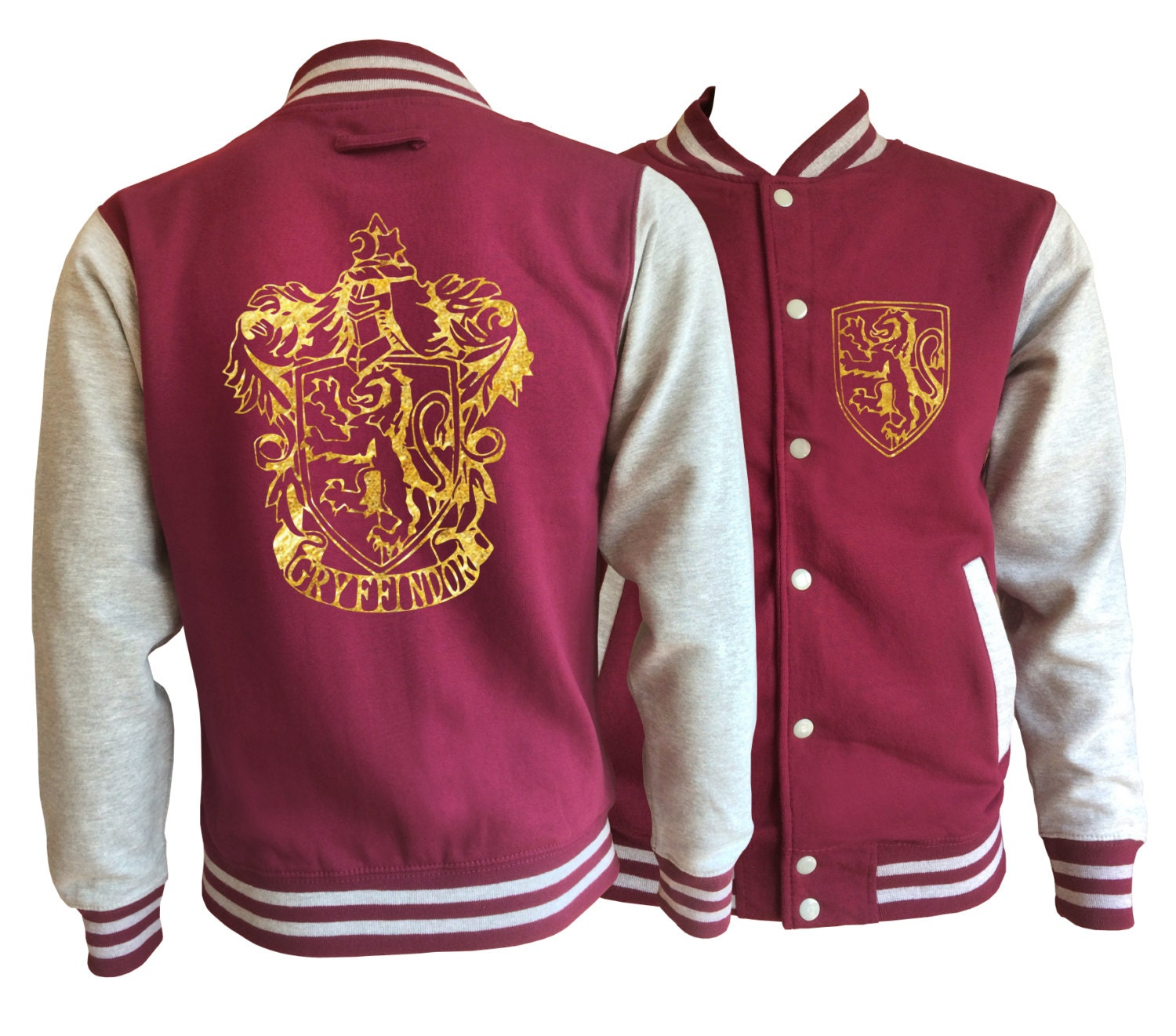 Vintage style Harry potter Inspired Gryffindor House varsity jacket with gold emblem in front and back.  Amazing!